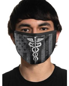 Howitzer By Affliction Honor Heroes Medical Caduceus Stars Stripes Patriot Military Moto Mens Womens Unisex Face Mask in Black - Washable Reusable