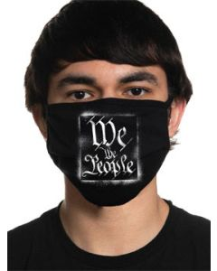 Howitzer By Affliction We The People Stencil Ornate Calligraphy USA Patriot Military Moto Mens Womens Unisex Face Mask in Black - Washable Reusable