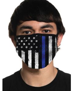 Howitzer By Affliction Respect Police Law Enforcement Honor Fallen American Flag Mens Womens Unisex Face Mask in Black Blue - Washable Reusable