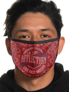 Affliction American Customs Live Fast Motors Crude Indian Chief Skull Headdress Paisley Biker Mens Womens Unisex Face Mask in Red - Washable Reusable