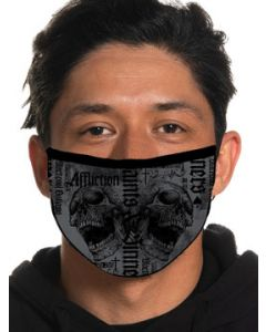 Affliction Renegade Two Skulls Saints Sinners Blackpool Outlaws Moto Biker Mens Womens Unisex Face Mask in Charcoal Grey - Washable Reusable