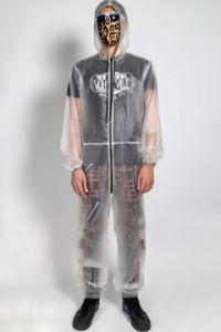 Tripp NYC Punk Rave Festival Mens Womens Unisex Long Sleeve Zip Thermoplastic Hoodie Jumpsuit Waterproof in Clear - SIZE XXXL / 3XL