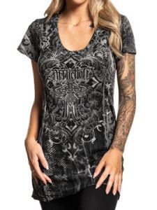 Affliction Soul Promise Cross Fleur Filigree Rhinestones Razor Cutout Back Lace Womens Short Sleeve Scoop Neck T-Shirt in Charcoal Grey - SIZES XS-XXL