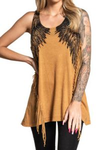 Affliction Isadora Diamonds Large Angel Wings Rhinestones Rock Western Moto Womens Long Fringe Tank Top in Copper Brown - SIZES XS-XL
