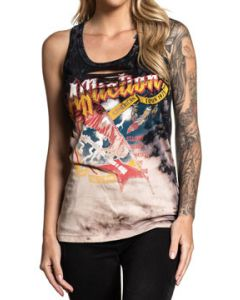 Affliction American Metal Concert Tour Where Eagles Dare Guitar Razor Cut Holes Front Womens Split Tank Tank Top in Black Bleach Tie Dye - SIZES XS-L