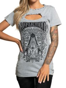 Affliction Historic Iron Art Deco Letter A Metal Studs Rhinestones Keyhole Cut Out Front Womens Short Sleeve Ellipse Neck T-Shirt in Grey - SIZES XS-XXL