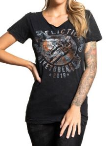 Affliction Biketoberfest 2019 27th Annual Daytona Beach Florida Motorcycle Biker Rally Womens Short Sleeve Scoop  T-Shirt in Black - SIZES XS-XXL