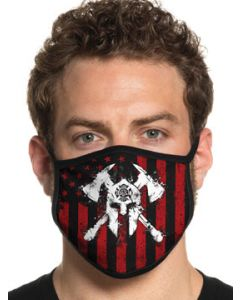 Howitzer By Affliction Spartan Fire Dept Firefighter EMS EMT Paramedic Mens Womens Unisex Face Mask in Black Red - Washable Reusable