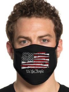 Howitzer By Affliction Standing Freedom We The People Rifles USA Flag Patriot Military Mens Womens Unisex Face Mask in Black - Washable Reusable
