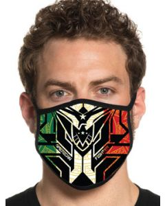 American Fighter Woodsfield Eagle Logo Geometric UFC MMA Athletic Fashion Mens Womens Unisex Face Mask in Black White Red Green - Washable Reusable