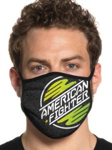 American Fighter Lake Superior Modern Typography UFC MMA Active Sports Athletic Fashion Mens Womens Unisex Face Mask in Black & Red - Washable Reusable