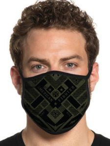 American Fighter by Affliction Maricopa Designer Monogram UFC MMA Athletic Fashion Mens Womens Unisex Face Mask in Black Green - Washable Reusable
