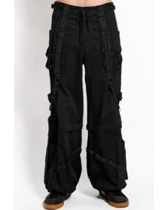 Tripp NYC Punk Rave Goth Black Chains Zippers Bondage Straps Skull Studs Mens Wide Pants Zip Off Cargo Shorts in Solid Black - SIZES XS-XXL W28-40