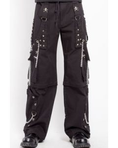 Tripp NYC Step Chain Punk Rave Goth Metal Studs Bondage Straps Grommets Skull Accents Mens Wide Pants Cargo Shorts in Black - SIZES XS-3X W28-44