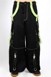 Tripp NYC Dark Street Punk Rave Goth Lime Green Straps Metal Chains Grommets Skull Dagger Mens Wide X Pants Shorts in Black - SIZES XS-3X W28-44