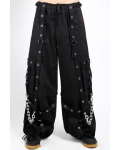Tripp NYC Freedom Punk Rave Goth Metal Chains Bondage Straps Grommets Adjust Fit Mens Wide Pants Cargo Shorts in Black - SIZES XS-3X W28-44