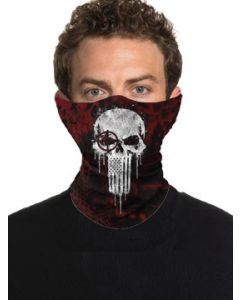Howitzer By Affliction Crush Skull American Flag Patriot Military USA Mens Womens Unisex Loop Neck Gaiter Scarf Face Mask in Red - Washable Reusable