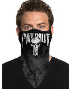 Howitzer By Afflicton Patriot Skull Punisher American Flag Military USA Mens Womens Unisex Bandana Face Mask in Black - Washable Reusable