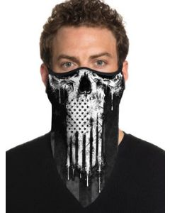 Howitzer By Afflicton Smash Skull Punisher American Flag Military USA Mens Womens Unisex Bandana Face Mask in Black - Washable Reusable