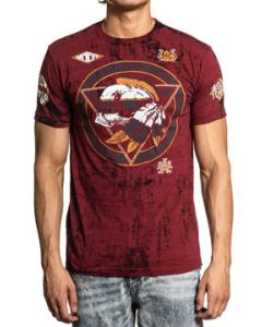 Affliction American Customs Peace Tribe Motors Indian Skull Mohawk Motorcycle Biker Mens Short Sleeve T-Shirt in Mahogany Brown - SIZES S-4X