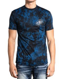 Affliction Kryptek Chris Kyle Night Ops God Country Family Skull Military Charity Mens Short Sleeve T-Shirt in Blue Black Camo - SIZES S-4X