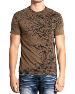 Affliction Tree Of Souls Dead Tree Branches Screaming Faces Mythical Folklore Macabre Mens Short Sleeve T-Shirt in Tobacco Brown - SIZES S M