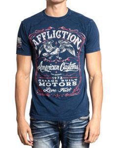 Affliction American Customs Garage Built Single Barrel Majestic Eagle Motorcycle Biker Mens Short Sleeve T-Shirt in Navy Blue - SIZES S-4X