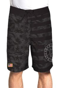 Howitzer by Affliction Ammunition American Flag Stars Stripes Patriot Army Marines Armed Forces Mens Board Shorts in Black Grey - SIZES 30-42