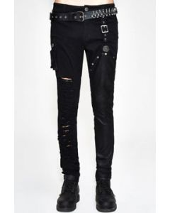 Devil Fashion Punk Goth Moto Biker Ripped Holes Buckle Straps Dragon Medallion Cargo Pocket Mens Stretch Skinny Jeans Pants in Black - SIZES S-M W30-34