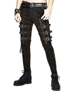 Devil Fashion Rocker Goth Moto Metal Grommets Lace Up Ties Buckles Straps Distress Mens Stretch Skinny Jeans Pants in Black Brown - SIZES S-L W28-36
