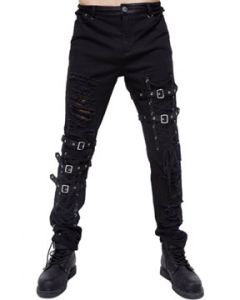 Devil Fashion Rocker Goth Moto Metal Grommets Lace Up Ties Buckles Straps Destroy Holes Mens Stretch Skinny Jeans Pants in Black - SIZES S-3X W28-42
