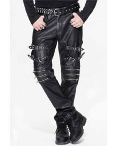 Devil Fashion Rock Punk Moto Biker Adjustable Buckles Straps Multi Zippers Mens Stretch Faux Leather Skinny Jeans Pants in Black - SIZES S & XL W32-38