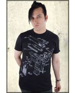 Pollution Clothing Gun Diagram Drawing Schematics Mens Short Sleeve T-Shirt in Black - ONLY SIZE SMALL LEFT
