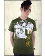 Pollution Clothing Army Star Mens Short Sleeve Tee Shirt in Olive Green - ONLY SIZES SMALL & XXL LEFT