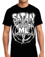 Killers Never Die Satan Worships Me Rock Metal Davey Suicide Band Music Concert White Unisex Mens Short Sleeve T-Shirt in Black - UP TO SIZE XXXL / 3XL